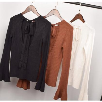 Pure Color Long Horn Sleeves Scoop ..