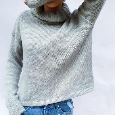 Pure Color High Neck Long Sleeves L..
