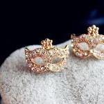 Free Shipping Mask Shape Stud Earrings Fashionable Rhinestone