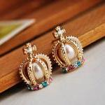 Free Shipping Crown Shape Stud Earrings Sweet Style Colorful Rhinestone