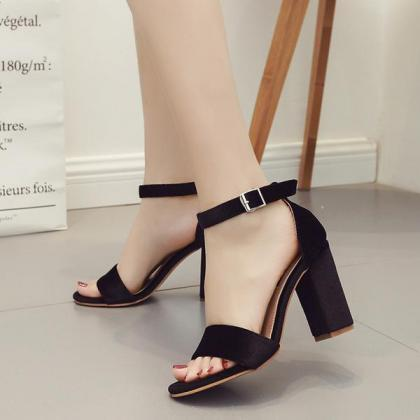 Faux Suede Ankle Strap Chunky Heel ..