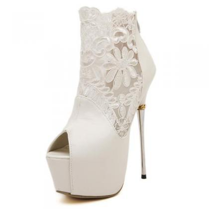 Lace Platform Stiletto Heel Peep-to..