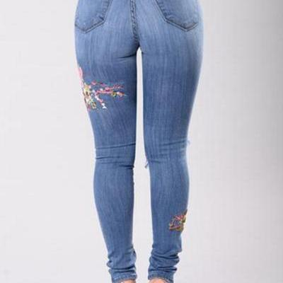 Flower Embroidery Middle Waist Cut ..