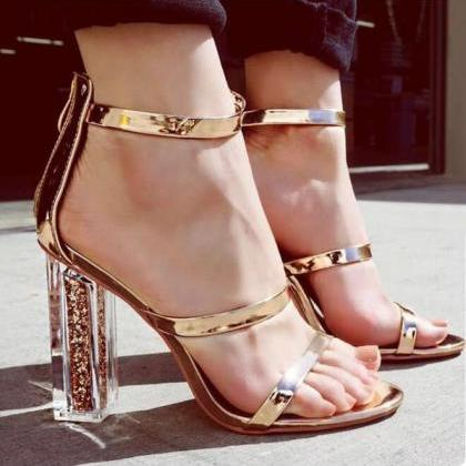 Open Toe Transparent Chunky Heels S..