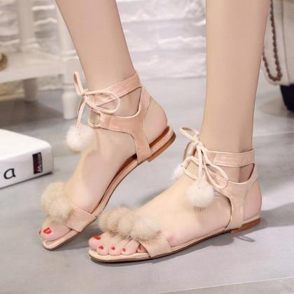 Fur Ball Decorate Ankle Wrap Flat S..