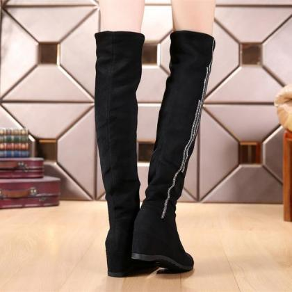 Round Toe Over-knee Long Wedge Boot..