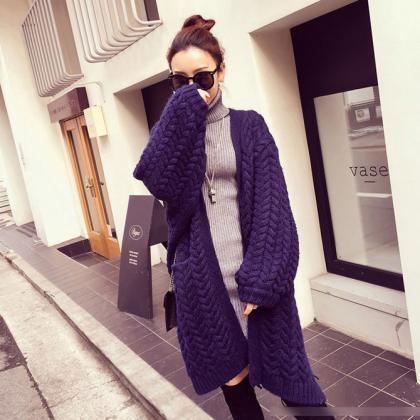 Cable Knitwear Pockets Long Loose C..