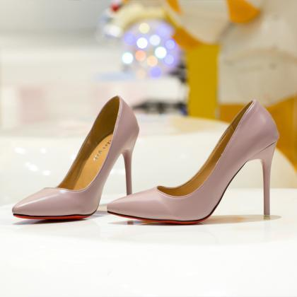 Faux Leather Pointed-Toe High Heel ..