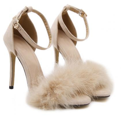 Fur Decorate Open Toe Ankle Wrap St..