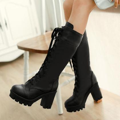 White Knee High Lace Up Boots With ..