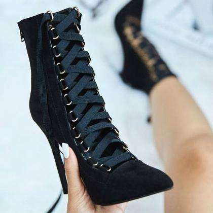 Straps Lace UP Pointed Toe Super St..