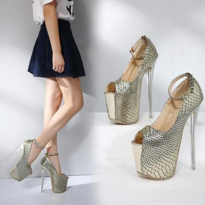 Super High Platform Ankle Wrap Stil..