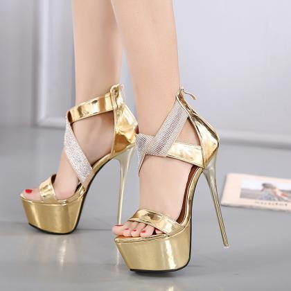 PU Pure Color Stiletto Heel Peep To..