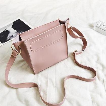 Concise Plain PU Women Shoulder Bag