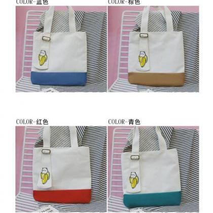 Casual Color Block Soft Canvas Shou..