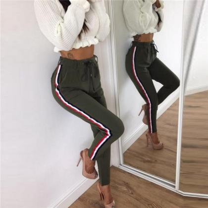 Stripe Decorate High Waist Slim Pen..