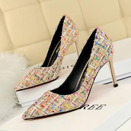 Colorful Pointed Toe Stiletto Heel ..