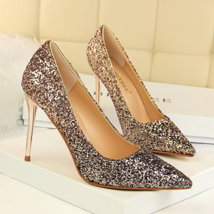 Shinning Sequins Pointed Toe Stilet..