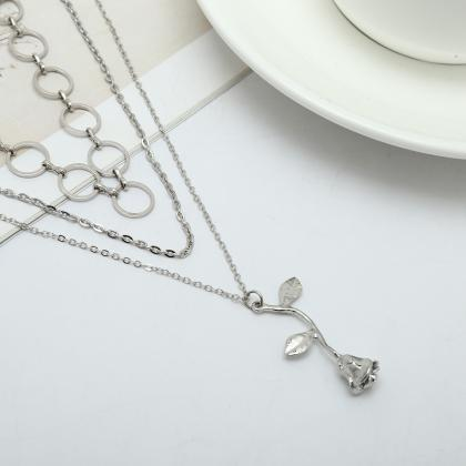 Alloy Rose Pendant With Multiple Cl..