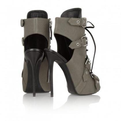 Canvas Hasp Straps Stiletto Heel Pe..
