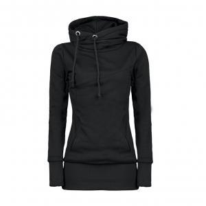 Draw String High Neck Women Hoodies