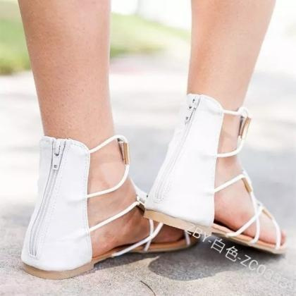 Women Flat Sandals Slip-on Cut Out ..