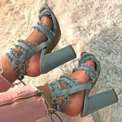 Denim Chunky High Heel Sandals - Pe..