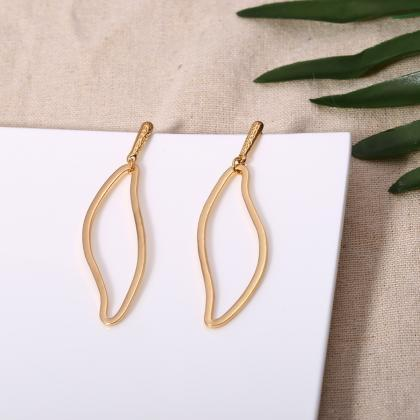 Simple Hollow Out Leaf Earrings