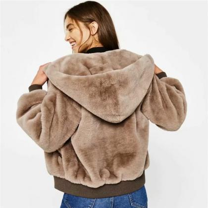 Faux Fur Pockets Solid Color Short ..
