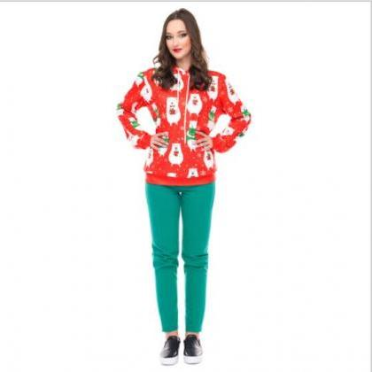 Little Bear Print Women Christmas P..