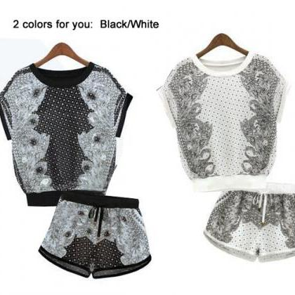 2pcs Shirts Shorts Playsuit Set