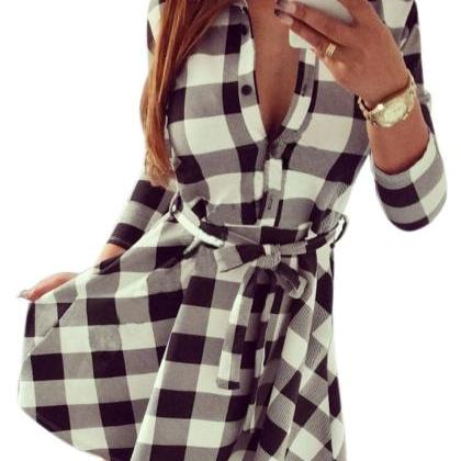 Ladies Plaid Belt Shirt Dress Lapel..