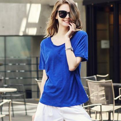 Scoop Short Sleeves Pure Color Casu..