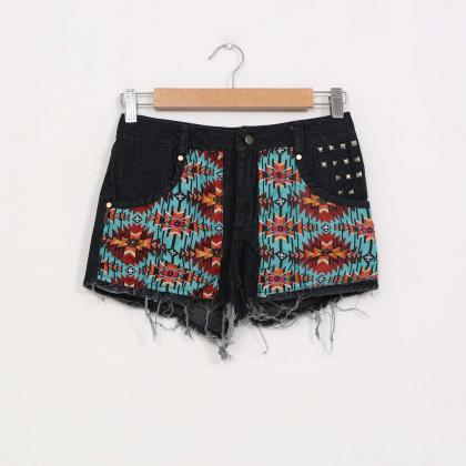High Waist Retro Flower Print Rivet..