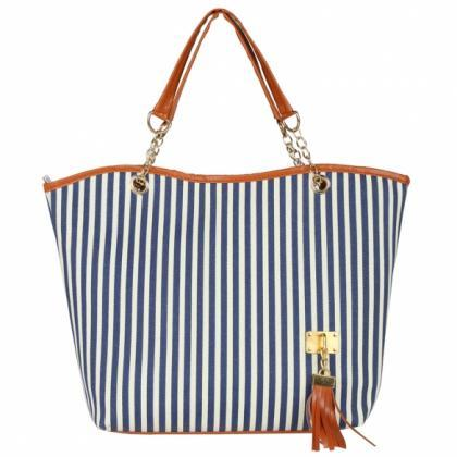 Navy and White Stripes Canvas Tote ..