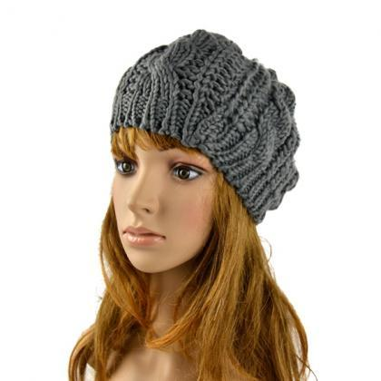 Winter Women Beret Braided Baggy Be..