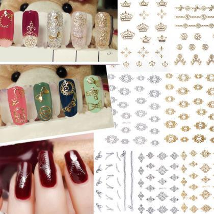 New 12 Sheets Pretty 3D Flower Nail..