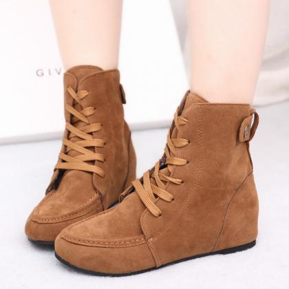 Fashion Winter Suede Increased Flat..