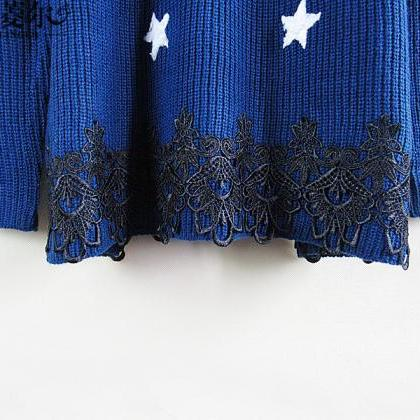Dropped Shoulder Stars Korean Knit ..