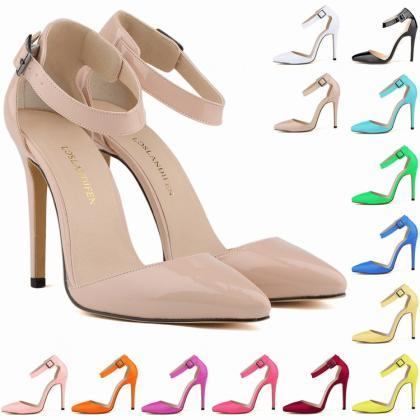 Pointed-Toe Stiletto Heels with Adj..