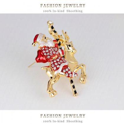 All-match Santa Claus deer Brooch