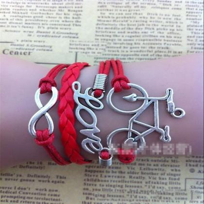 Chic Bicycle Love Multilayer Woven ..
