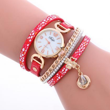 Clover Spot Print Multilayer Watch