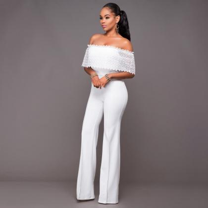 Sexy White Off Shoulder Lace Long C..