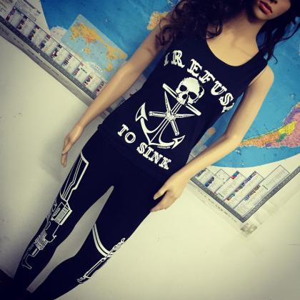 Black Skull Anchor Print Short Slim..
