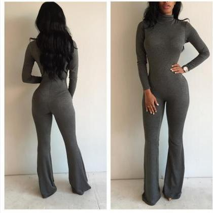 High Neck Long Sleeve Flared Leg Sl..