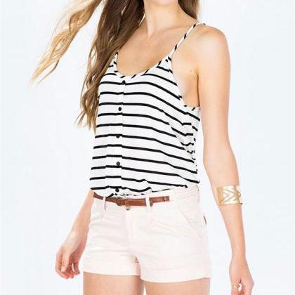 Black Striped White Scoop Neck Cami..