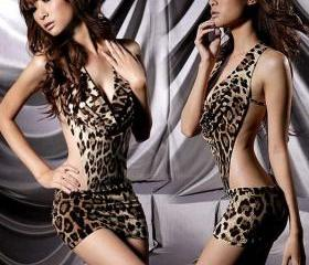Free Shipping Stylish Sexy Leopard Backless Hot Girl Dress