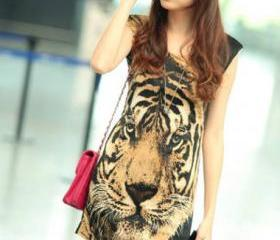 Free Shipping Handsome Tiger Print Cotton Tank Dress