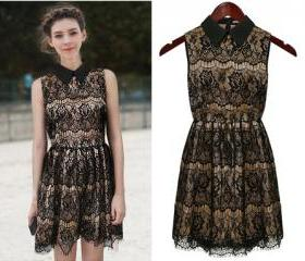Free Shipping Stylish Turndown Collar Sleeve Black Lace Dress